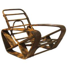 Oversize Rattan Lounge Chair by Paul Frankl