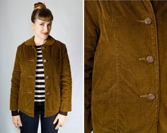 Vintage 1960s Brown Corduroy Quilted Coat // 60s Peter Pan Collar Button Up Warm Winter Jacket w/ Pockets | women's size S M | by Birthday Life Vintage on Etsy | $42.00