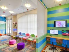 Designers used 3form Struttura as partitions and door insets in this Pediatric Dentistry office.