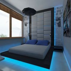 Interior Design and Decoration, Room Accessories For Men Ideas Using Futuristic Platform Bed With Blue Led Lighting Also Black Pendant Ceiling Lamp And Newspaper Motif Wallpaper: Modern Room Accessories for Men Ideas - Rooms Inn The House
