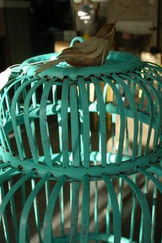 CeCe Santa Fe Turquoise over an old red existing birdcage...  shop my store for paints AND the birdcage!