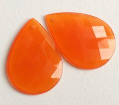 Fanta Orange Faceted Pear Chalcedony 2 pcs by gemsforjewels