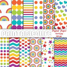 Rainbow Digital Paper Pack Colorful background by printable4life