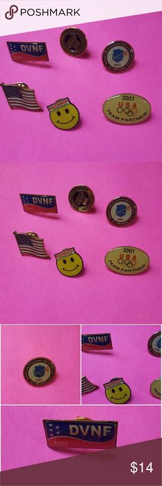 *6*Lapel, shirt or hat pins Bundle 6 included. DVNF 2008 Disabled Veterans National Foundation, The Leadership Circle NCPSSM since 1982, National LEO Law Enforcement Officers Memorial Fund 2001, Outback Steakhouse happy face, USA flag and 2001 USA Team Partner all included in good used condition. All have backs. $8 firm and final Jewelry