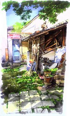 查看《三石手绘,建筑手绘,建筑画,手绘图...
