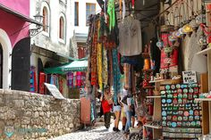 Colorful bazaar and shopping area in the Old Town of Mostar! Sunday is for #walking through the streets of #bazaar. #mostar #tourguidemostar #sunday #shopping #travel #ottoman #turkish #market #explore #tourism