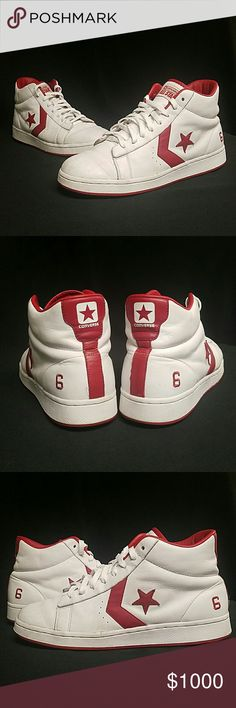 """EXTREMELY RARE 70sDr. J Converse Pro Leather Sz 12 Extremely Rare Dr. J Converse Pro Leather Size 12 This shoe is from the the 1970s, Julius Erving was the first Basketball player to ever sign a shoe endorsement. Before Jordan there was Julius Erving, he played for the 76ers when he made this shoe. If you're a true """"Sneakerhead"""" you must know about Dr. J, the reason these are so rare is because they were extremely limited and have his number #6 embroidered on the back, this is the only Dr.J…"""
