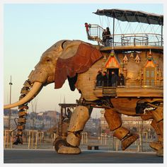 "Electromechanical pachyderm. Nantes, France. It was the intention of the artists, (François Delarozière and Pierre Orefice) to conceptualize travel through time ""at the crossroads of the imaginary worlds of Jules Verne and the mechanical universe of Leonardo da Vinci."""