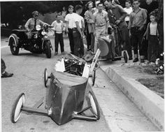 A soap box derby accident on Bel Aire Avenue in Glendale, circa 1940s. The Soap Box Derby was named in 1933 when a Dayton Daily News photographer encountered three boys racing home-made, engineless cars and decided to encourage the youths by holding a competition complete with a prize. Soap box racing evolved into a nationwide pastime. Glendale Central Public Library. San Fernando Valley History Digital Library.