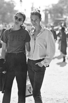 French model Constance Jablonski and Romanian model Andreea Diaconu, after A Show, Paris, September Suede pants + . Stylish Outfits, Fashion Outfits, Suede Pants, Vanessa Jackman, Paris Fashion, Street Fashion, French Models, Models Off Duty, Fashion Beauty