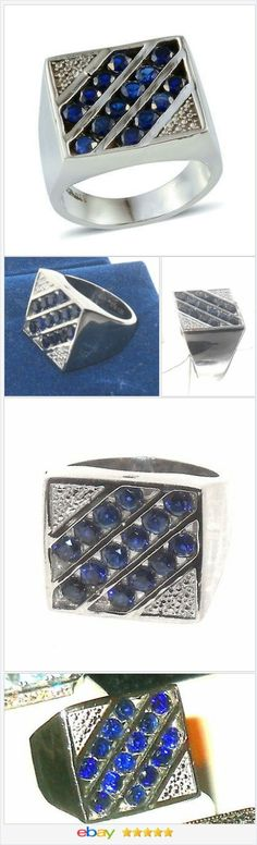 50% OFF #EBAY http://stores.ebay.com/JEWELRY-AND-GIFTS-BY-ALICE-AND-ANN  Sapphire Men's Ring 3 carats Blue Size 10