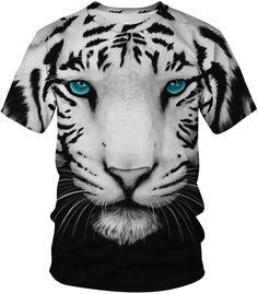 Cheaper Women White Tiger Short Sleeve T-shirt Cool Cats, T-shirt Tigre, Gq, Tiger T Shirt, 3d T Shirts, Animal Totems, Tiger Print, Unisex, Lion Sculpture