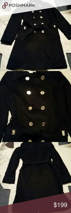 MK .. FINAL AND LOWEST Michael Kors Excellent condition looks brand new beautiful coat size 6 color is black with gold buttons 70% wool 20% nylon 10% Cashmere Michael Kors Jackets & Coats