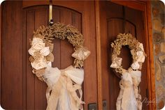 These wedding wreaths make a vintage country touch for your destination mountain wedding at Fontana Village.