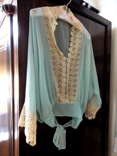 1900's Edwardian Antique Silk Blouse Aqua Fabric and by AnnasDream, $125.00