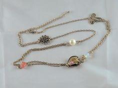 Fin collier double chaîne argentée et mélange de formes et de matières : perle de culture, quartz rose, opaline et Murano : Collier par jade-et-cristal-de-marie