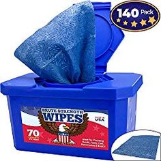 Industrial-Grade, No-Rinse Wet Wipes 140 Pack by Nova Supply. Cuts Grease From Hands, Tools and Work Surface Quickly- No Residue. Big, Citrus Scented Bucket of Rags Automotive Detailing, Nova, Cool Car Accessories, Mechanic Gifts, Shop Rags, Industrial, All Purpose Cleaners, Wet Wipe, Work Surface