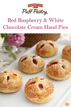 Puff Pastry Red Raspberry & White Chocolate Cream Hand Pies Recipe. These little pies are so pretty and they fit right in the palm of your hand. Puff Pastry and a delectable filling make these hand pies irresistible to all party guests. Each bite features fresh raspberries in a white chocolate cream, wrapped in flaky Puff Pastry. Spread holiday cheer with this delightful dessert.