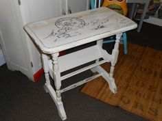 Shabby chic painted side table (dumpster find)