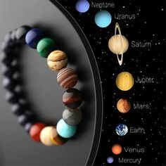 Lovers Eight Planets Natural Stone Bracelet Universe Yoga Chakra Galaxy Solar System Bracelets for Men or Women Jewelry - Euforia Jewels Chakra Armband, Bracelet Chakra, Chakra Bracelet Meaning, Natural Crystals, Stones And Crystals, Natural Stones, Natural Stone Jewelry, Galaxy Solar System, Bracelets For Men