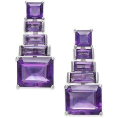 Amethyst Ladder Drop Earrings (7 ct. t.w.) in Sterling Silver (£480) ❤ liked on Polyvore featuring jewelry, earrings, amethyst, sterling silver drop earrings, sterling silver amethyst jewelry, amethyst earrings, emerald cut drop earrings and sterling silver earrings