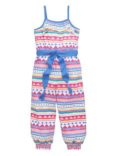 LadybirdGirls Aztec Jersey Jumpsuit Jazz up her summer collection with this girls jersey jumpsuit by Ladybird that pops in bright Aztec prints. In a relaxed fit and sleeveless style, the jumpsuit is covered with on-trend tribal patterns that burst in vibrant colours. Styled with contrast straps and a tassel trim sash to the waist, a pretty frilly bib adorns the chest.She can wear this jumpsuit with gladiator sandals to perfect this season's love of boho.Washing Instructions: Machine…