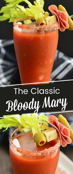 Classic Bloody Mary is a spicy tomato based cocktail many people enjoy for brunch. Very easy, so much flavor, and you can get creative with fun garnish ideas. #cocktail #drink #tomatojuice #vodka #brunch Fun Easy Recipes, Spicy Recipes, Cooking Recipes, Amazing Recipes, Delicious Recipes, Yummy Food, Best Bloody Mary Recipe, Bloody Mary Recipes, Best Cocktail Recipes