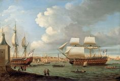 British Tars, 1740-1790: Foudroyant and Pégase entering Portsmouth Harbour,...