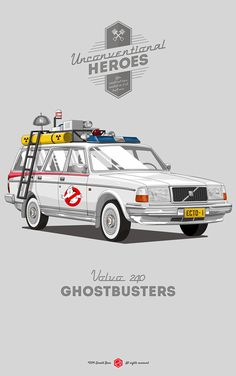 """Italian illustrator Gerald Bear is back with the second part of """"Unconventional Heroes"""", a fun personal project that features some of the most iconic movie vehicles, reimagined as cheaper, real-world alternatives.  You can view part one here.  More illustrations via Behance"""