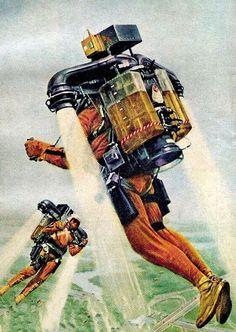 Jetpack jet pack rocket rocketman thrusters suit retro futurism back to the future tomorrow tomorrowland space planet age sci-fi pulp flying train airship steampunk dieselpunk Arte Sci Fi, Sci Fi Art, Affiche Star Trek, Art Science Fiction, World Of Tomorrow, Tomorrow Land, Vintage Space, Retro Vintage, Pulp Art