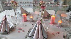 lyserød og sølvfarvet borddækning til konfirmation og bryllup