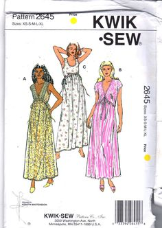 Kwik Sew 2645 Misses Lingerie Feminine Nightgown and by mbchills