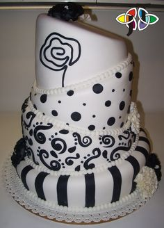 wedding cake inspiration- black and white topsy turvy