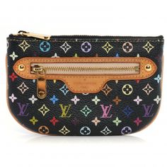 This is an authentic LOUIS VUITTON Multicolore Pochette Plate MM in Black.   This small accessory pouch is crafted of signature multicolor Louis Vuitton canvas with natural cowhide leather trim.