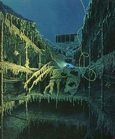 Titanic- first class staircase today   Wood decomposed from years undersea