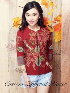 Batik Blazer, Blouse Batik, Batik Dress, Blouse Dress, Batik Fashion, Floral Fashion, Women's Fashion, Black Hippy, Batik Kebaya