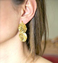 Leaves Earrings Gold Plated Earrings от DragatakisJewellery