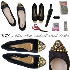 Fabulous and Twenty- A stylish guide for living on a budget: DIY: Miu Miu Inspired Crystal-embellished leather flats