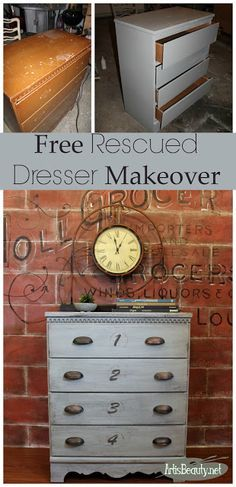 Free roadside rescue dresser that was given a DIY painted dresser transformation
