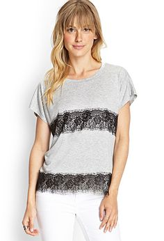 Lace-Paneled Jersey Tee   FOREVER21 - 2000103574