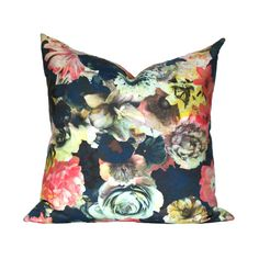 This floral is a stunner, printed with navy, yellow, light teal, and reddish pink. Some of the bright colors have a neon quality, which pop off the
