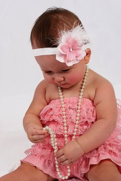 Baby headband and lace romper.. So vintage and cute