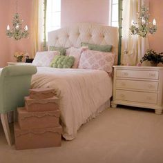 love the idea of mini chandeliers instead of lamps in the bedroom.
