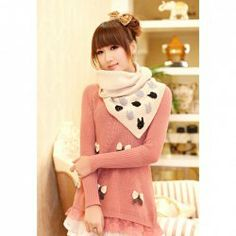 $8.93 Sweet Style Bowknot Embellished Lace Splicing Hem Long Sleeves Knitting Sweaters For Women