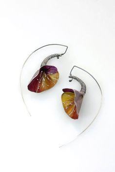 Bubbles Copper Enamel Jewelry *Handmade Earrings *Round Earrings *Circle Jewelry Red Spotted Earrings for Women Enameled Copper