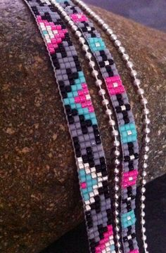 Multirows cuff bracelet Aztec neon pink by TDFTheDreamFactory Loom Bracelet Patterns, Seed Bead Patterns, Bead Loom Bracelets, Bracelet Crafts, Beaded Jewelry Patterns, Jewelry Crafts, Beading Patterns, Bead Loom Designs, Seed Bead Projects
