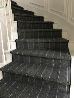 One of our new favorites. We take this wool carpet and fabricate into a stair runner. Ravine from Prestige Mills. Wall Carpet, New Carpet, Modern Carpet, Rugs On Carpet, Carpets, Shag Carpet, Blue Carpet, Foyers, Stairway Carpet