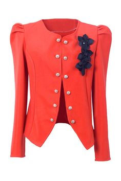 Double Button Orange Blazer. Would go with a blue skirt and orange heels and purse
