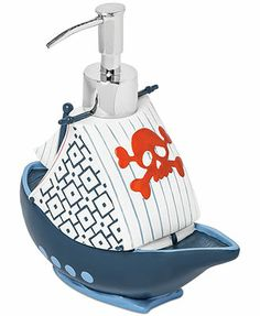 Kassatex Bath Accessories, Pirates Soap and Lotion Dispenser