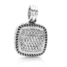 Pre-owned David Yurman Sterling Silver Albion Black & White Pavé... ($2,215) ❤ liked on Polyvore featuring jewelry, pendants, pendant jewelry, i love jewelry, pre owned fine jewelry, david yurman pendant and pave jewelry